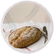 Freshly Baked Whole Grain Bread Round Beach Towel