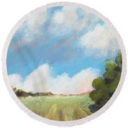 Freshly Cut Hay Field Round Beach Towel