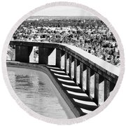 Frey Pool Bw Palm Springs Round Beach Towel
