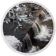 Frigid Falls Round Beach Towel