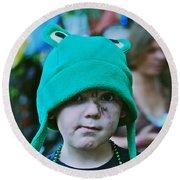Frog Hat Round Beach Towel