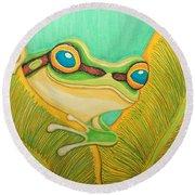 Frog Peeking Out Round Beach Towel