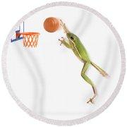 Frog Playing Basketball Round Beach Towel
