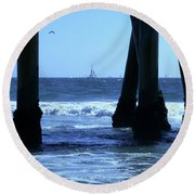 From Under The Pier Round Beach Towel