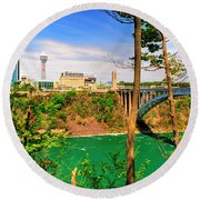 From Usa To Can Over The Rainbow Bridge Round Beach Towel