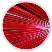 Frond Of Red Round Beach Towel