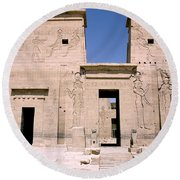 Front Of Philae Wall Round Beach Towel