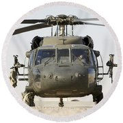 Front View Of A Uh-60l Black Hawk Round Beach Towel by Terry Moore