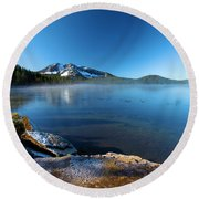 Frost On The Shore Round Beach Towel