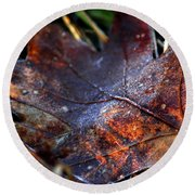 Frosted Fall Round Beach Towel