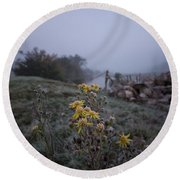 Frosted Flowers Round Beach Towel