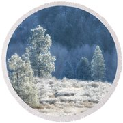 Frosted Morning Round Beach Towel