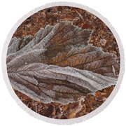 Frosted Raspberry Leaf Round Beach Towel