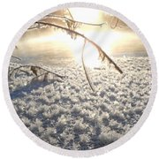 Frosty Ice At Sunrise Round Beach Towel