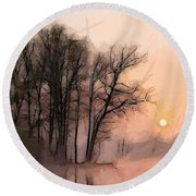 Frosty Morning At The Lake Round Beach Towel