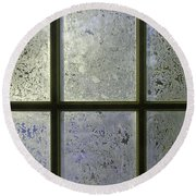 Frosty Window Pane Round Beach Towel