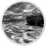 Frothy Seas Round Beach Towel
