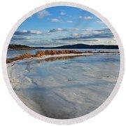 Frozen Shoreline Round Beach Towel