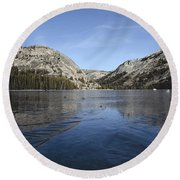 Frozen Tenaya Lake Round Beach Towel
