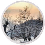 Frozen Trees Round Beach Towel