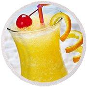 Frozen Tropical Orange Drink Round Beach Towel