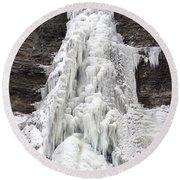 Frozen Waterfall Round Beach Towel