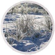 Frozen Winter Landscape Round Beach Towel