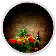 Fruit And Wine Round Beach Towel