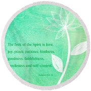 Fruit Of The Spirit Round Beach Towel by Linda Woods