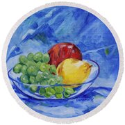 Fruit On Blue Round Beach Towel