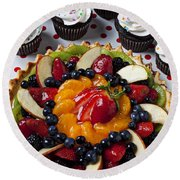Fruit Tart Pie And Cupcakes  Round Beach Towel by Garry Gay