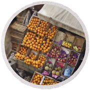 Fruit Vendor In The Kahn Round Beach Towel by Mary Machare