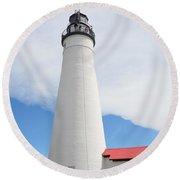 Ft Gratiot Lighthouse Round Beach Towel