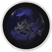 Full Earth At Night Showing City Lights Round Beach Towel by Stocktrek Images