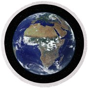 Full Earth Showing Africa And Europe Round Beach Towel