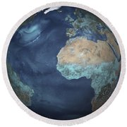 Full Earth Showing Evaporation Round Beach Towel