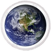 Full Earth Showing North America White Round Beach Towel
