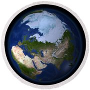 Full Earth Showing The Arctic Region Round Beach Towel by Stocktrek Images