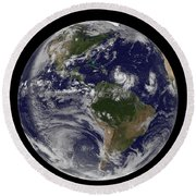Full Earth Showing Two Tropical Storms Round Beach Towel