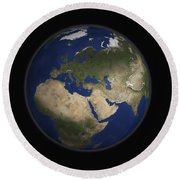 Full Earth View Showing Africa, Europe Round Beach Towel