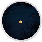 Full Moon On A Winter's Night Round Beach Towel