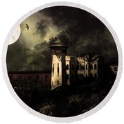 Full Moon Over Hard Time - San Quentin California State Prison - 7d18546 - Partial Sepia Round Beach Towel