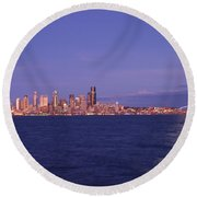 Full Moon Over Seattle Round Beach Towel