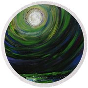 Full Moon Over The Sea Round Beach Towel