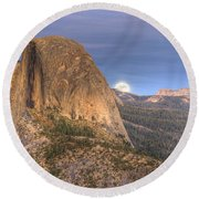 Full Moon Rise Behind Half Dome 2 Round Beach Towel