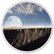Full Moon Rising Above A Sand Dune Round Beach Towel