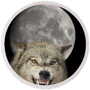 Full Moon Wolf Round Beach Towel