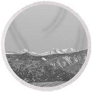 Full Moon Setting Over The Co Rocky Mountains Bw Round Beach Towel