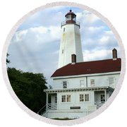 Full View Of Sandy Hook Lighthouse Round Beach Towel