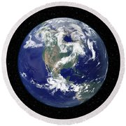 Fully Lit Earth Centered On North Round Beach Towel